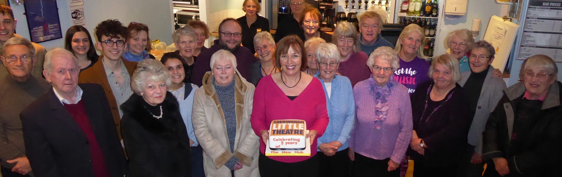 Theatre Friends with the cafe bar's 5th anniversary cake held by theatre director Debbie Thompson. Picture by Richard Batson