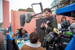 Tom Leatherbarrow directing the filming of After The Sea at Sheringham seafront.