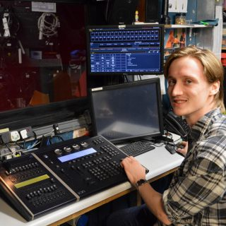 Sheringham Little Theatre technical apprentice Chris Sainton-Clark