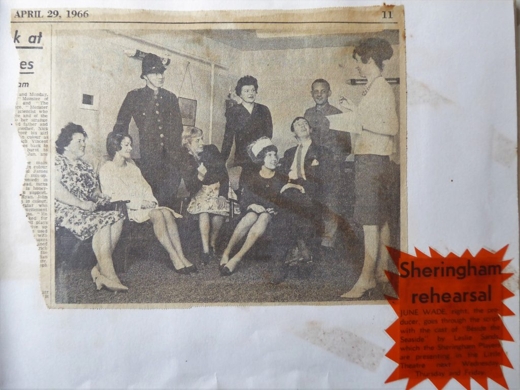 Rehearsal press clipping Sheringham Players Beside the Seaside