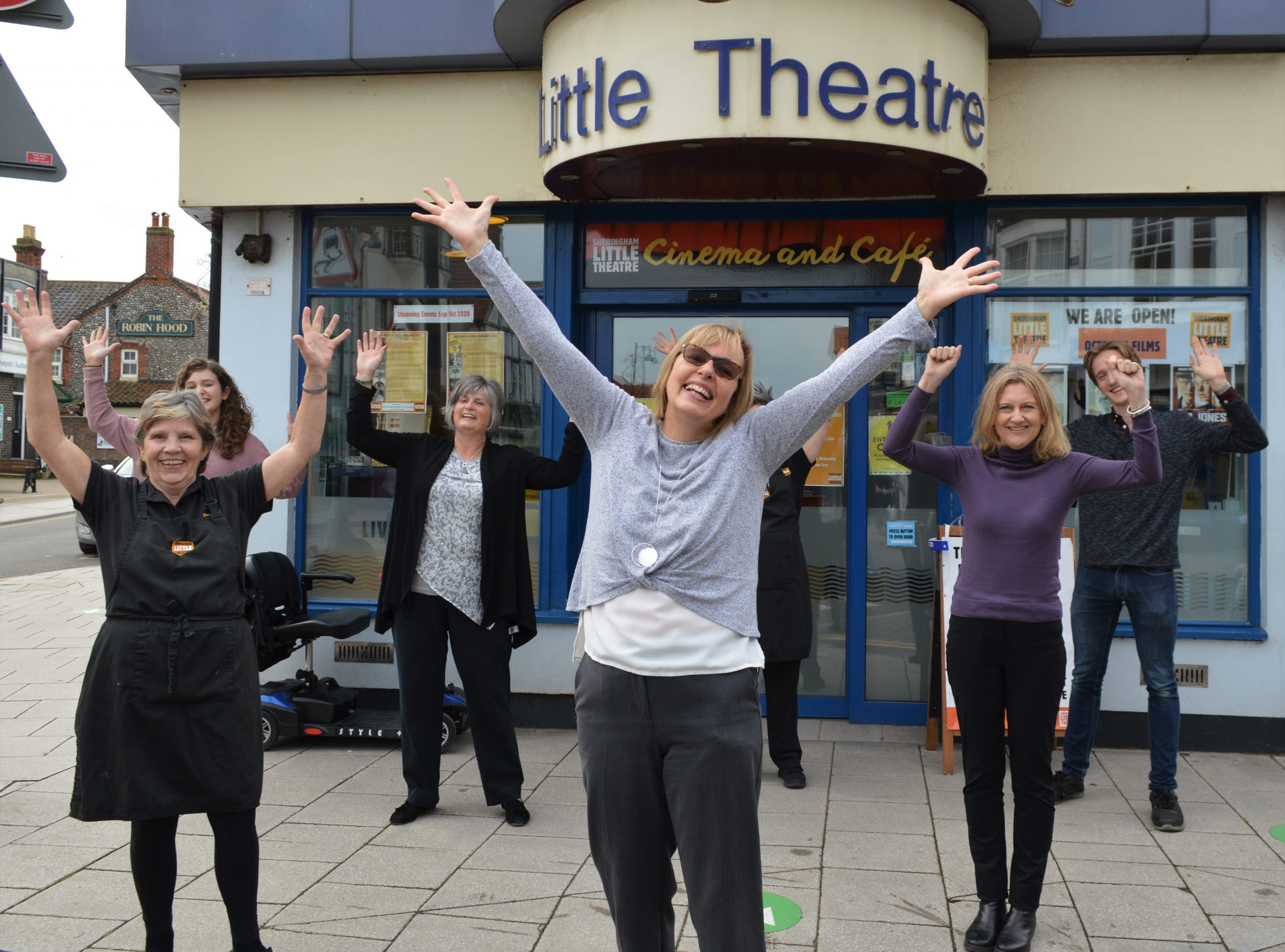 Sheringham Little Theatre team celebrating their Culture Recovery Fund grant
